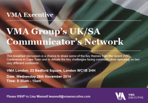 VMA Group's UK/SA Communicator's Network banner